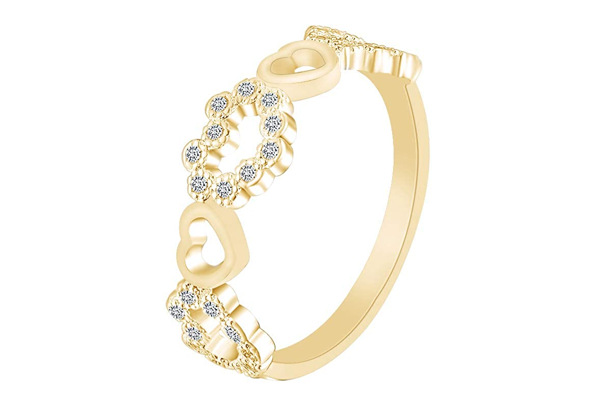 AFFY White Cubic Zirconia Five Heart Engagement Promise Ring 14k Gold Over Sterling Silver