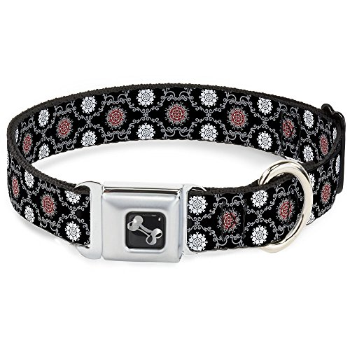 Buckle-Down Seatbelt Buckle Dog Collar - Tapestry 1 Black - 1