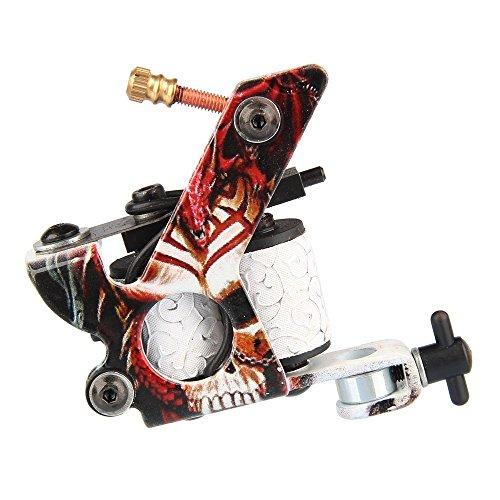 Beauty7 Red Professional Senior Cast Iron Skull 10 Wrap Coils Silent Motor Rotary Tattoo Machine Gun Supply Set For Liner & Shader Body Art (Silent Motor)