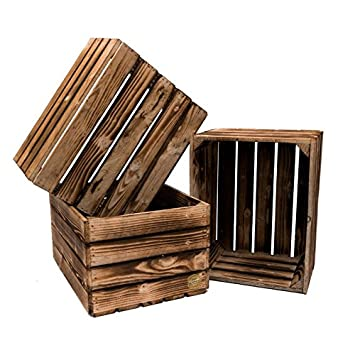 Set 3 Cassette Holz Robust Und Neue Maxi Farbe Verbrannt 50 X 40 X