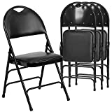 Flash Furniture 4 Pk. HERCULES Series Ultra-Premium Triple Braced Black Vinyl Metal Folding Chair with Easy-Carry Handle