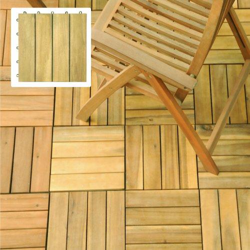(3 Slat Acacia Interlocking Deck Tile (Teak Finish))