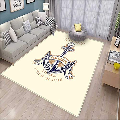 Anchor Extra Large Area Rug Old Sailor Spirit Sign Firmly Anchored to The Ocean Image in Vintage Style Bath Mat for tub Orange Blue Yellow