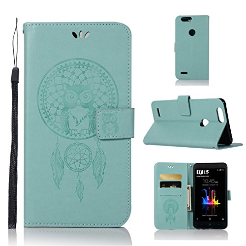 ZTE Blade Z Max Case, Love Sound [Wrist Strap] Premium Emboss Owl Wind Chime PU Leather Flip Folio [Kickstand Feature] Wallet Case with ID&Credit Card Pockets for ZTE Blade Z Max Z982 – Green For Sale