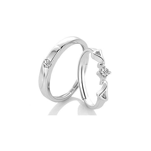 fe61ae248ecd Amazon   [比翼堂] レディース ファッション ペアリング 一粒ダイヤ 指輪 ...