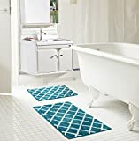 RT Designers Collection Chester 2-Piece Jacquard Microfiber Bath Mat Set in Teal