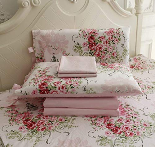 FADFAY Rose Floral 4 Piece Bed Sheet Set 100% Cotton Deep Pocket-Full