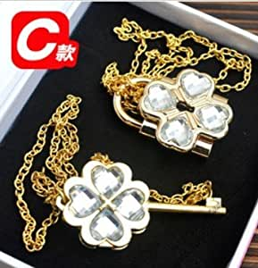 Shugo Chara Lock and Key Necklace White with golden chain ,Lock can be opened