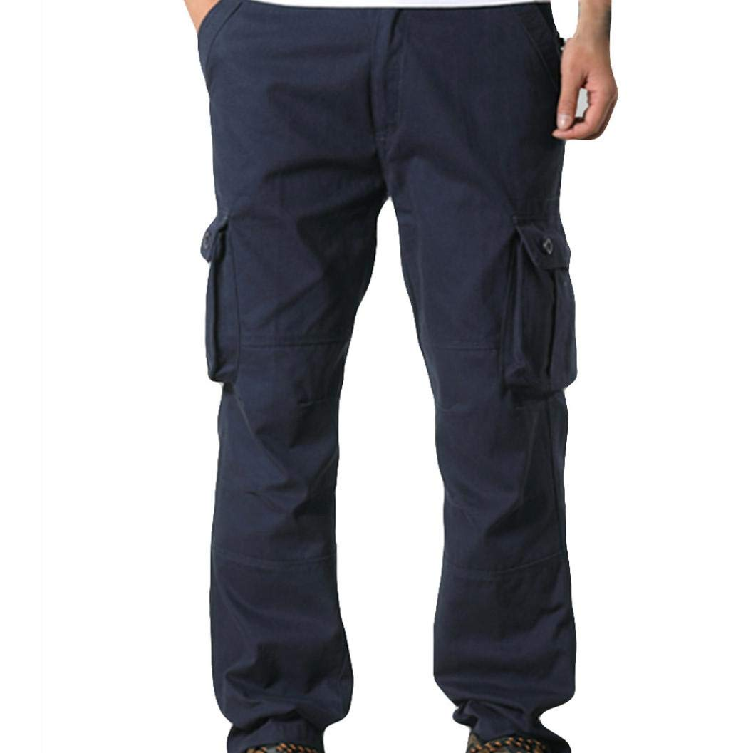 Best Seller! Men Cargo Pants - Mens Casual Mid Waist Pocket Overalls Sport Work Trousers(36, Navy)
