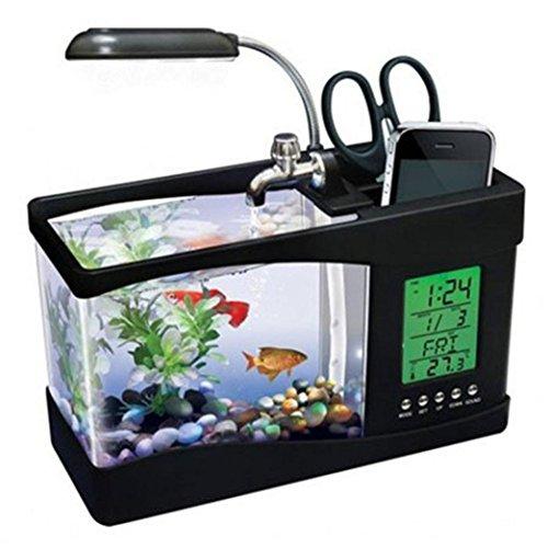 Lywey Mini USB LCD Office Desktop Lamp Light 1.5L Fish Tank Aquarium Kit with LED Clock, Water Recirculation | Halloween Christmas Gifts (Black)