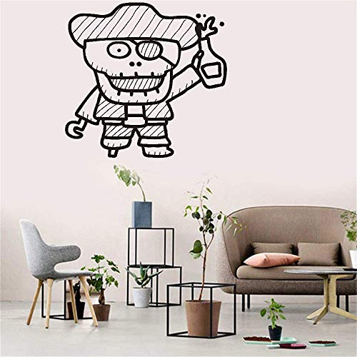 Vinyl Peel and Stick Mural Removable Decals Skeleton Pirate for Nursery Kids Room