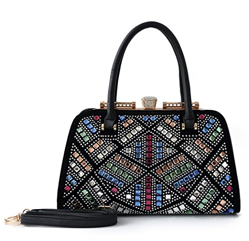Satispac Women's Colorful Shine Crystal Design Handbag (Black)