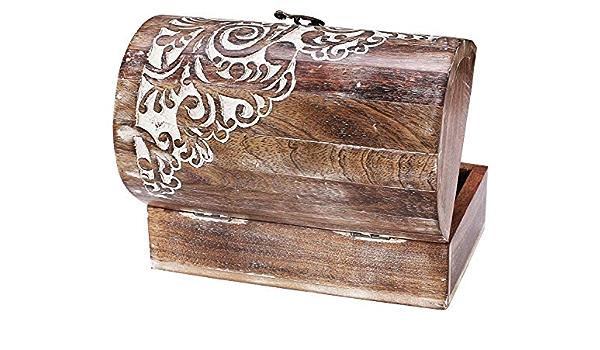 Indian hardwood handmade miniature jewellery cabinet Four drawers and two doors Folk art jewellery box.