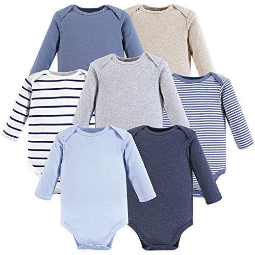 Hudson Baby Baby Long Sleeve Bodysuits, Boy Basics 7Pk, 3-6 Months (6M)
