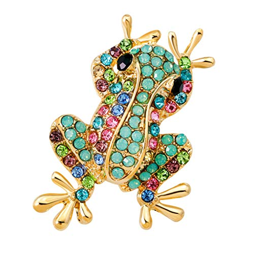 Marcasite Frog - Fashion Natural Insect Animal Rhinestone Frog Brooch Pins For Women Girls | Color - Green