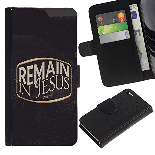 LASTONE PHONE CASE / Luxe Cuir Portefeuille Housse Fente pour Carte Coque Flip Étui de Protection pour Apple Iphone 4 / 4S / BIBLE Remain In Jesus - John 15:4