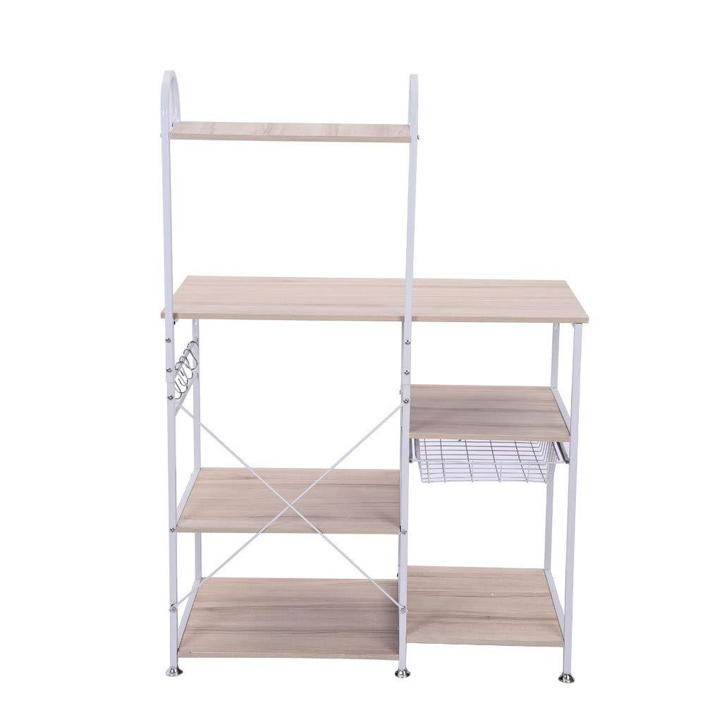 YAYUMI 3-Tier Multifunctional Kitchen Rack Microwave Stand Oven Floor Shelf Storage Cupboard,Baker's Rack,Spice Rack Organizer Workstation 90X42X130.5cm(Ship from US) by YAYUMI