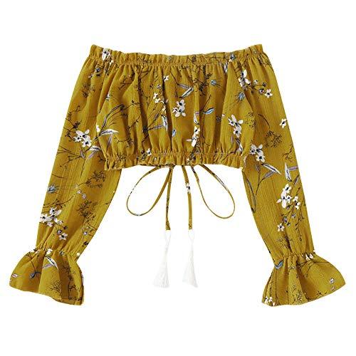 Sumen Women T Shirt Summer Floral Off Shoulder Chiffon Long Sleeve Tie Blouse Short Tops Yellow