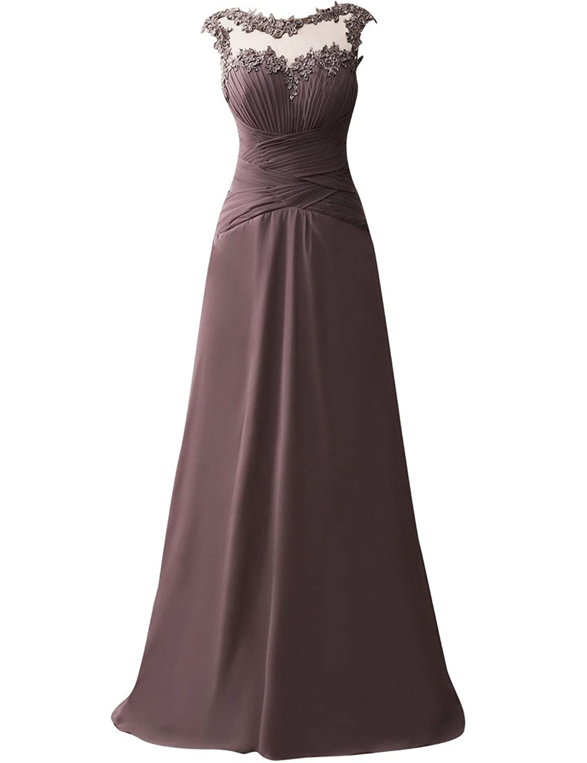 JAEDEN Long Evening Dresses Chiffon Ruched Prom Party Gown Open Back