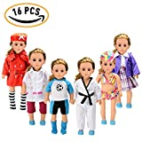 American Girl Doll Accessories Set Wardrobe Makeover(16pcs),18-Inch 6 Outfits American Girl Doll Clothes,Soccer Guards Outfit,School Uniform,Doctor or Nurse Suit,Swimsuit,Tae Kwon Do Suit ,Stewardess