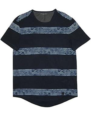 Calvin Klein Jeans Men's Whirl Stripe Short Sleeve Tee, Riveria