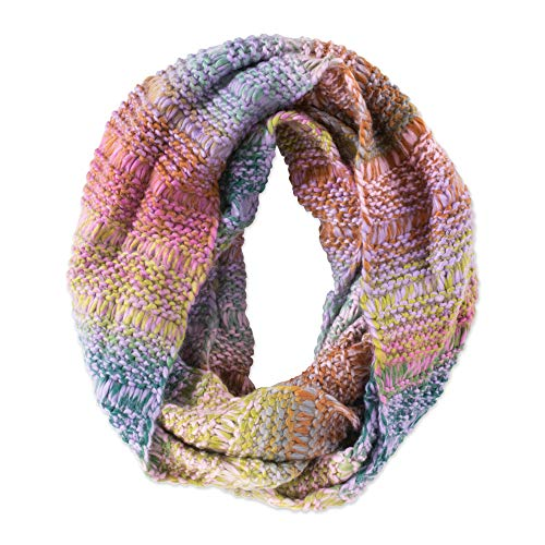 Tickled Pink Women's Vibrant Knit Stripe Infinity Scarf, Lavender/Teal, One Size