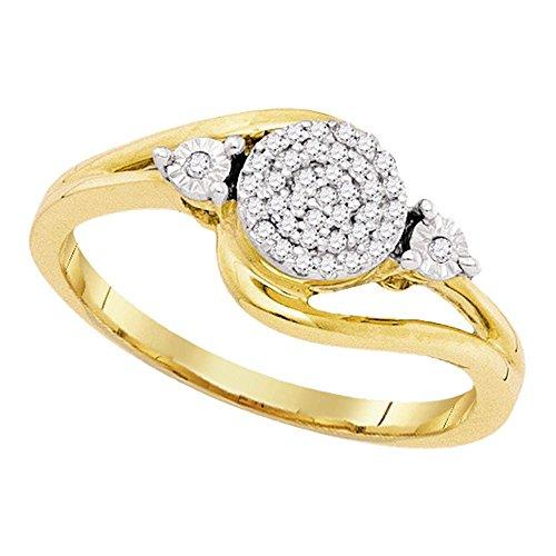 (10k Yellow Gold Diamond Cocktail Ring Fashion Band Round Swirl Design Polished Set Fancy 1/10 ctw Size 7.5)