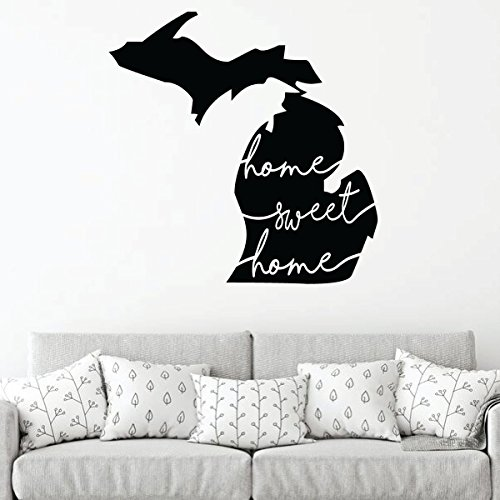 Michigan Wall Decor - Sweet Home - State Silhouette Vinyl Sticker Decal Art for Home, Living Room or Family Room -