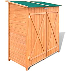 Festnight Garden Wooden Tool Storage Shed Waterproof Utility Tools Organizers with Lockable Doors, 54.3'' x 25.8'' x 63'', Pine Wood