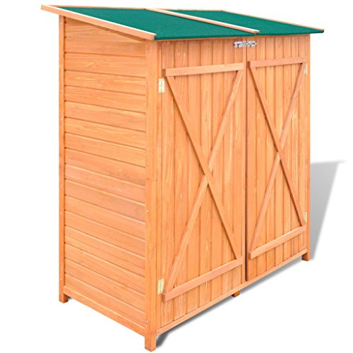 Festnight Garden Wooden Tool Storage Shed Waterproof Utility Tools Organizers with Lockable Doors, 54.3'' x 25.8'' x 63'', Pine Wood