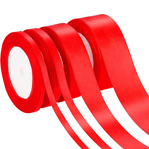 Rolls of 4 Widths of Red Satin Fabric Ribbon