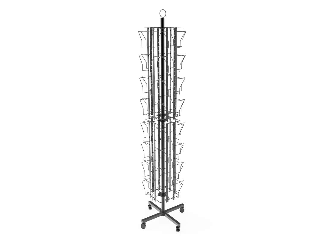 FixtureDisplays Up to 8.5'' Pocket 24-Pocket Adjustable Display Rack, Double Tier Greeting Post Card Christmas Holiday Spinning Rack Stand 19347NEW-NPF!