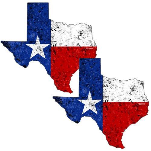 AZ House of Graphics Texas Shape Flag GRUNGE Stickers 2 Pack