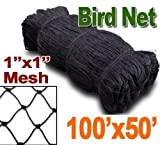 1'' Mesh Size, Net Netting for Bird Poultry Aviary Game Pens Plants Garden (50ft x 100ft)