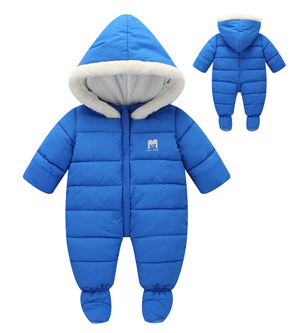AIEOE Baby Hooded Fleece Romper Infant Thick Jumpsuit with Feet Warm Snowsuit