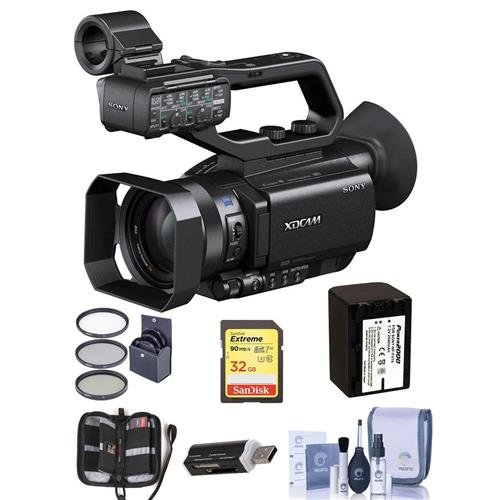 Sony PXW-X70 XDCAM Hand-Held Camcorder, 1'' Exmor R CMOS Sensor, 12x Optical Zoom, Bundle With 62mm Filter Kit, Spare Battery, 32GB SDHC U3 Card, Cleaning Kit, Card Reader, Memory Wallet by Sony
