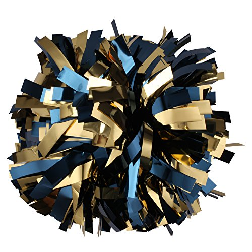 Metalic Cheerleader Cheerleading Pom pom 6 inch 1 Pair (Navy blue/Gold) (Navy Blue And Gold)