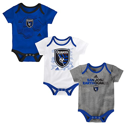 fan products of MLS San Jose Earthquakes Boys Hat Trick 3 Pack Creeper Set, Master Blue, 12 Months