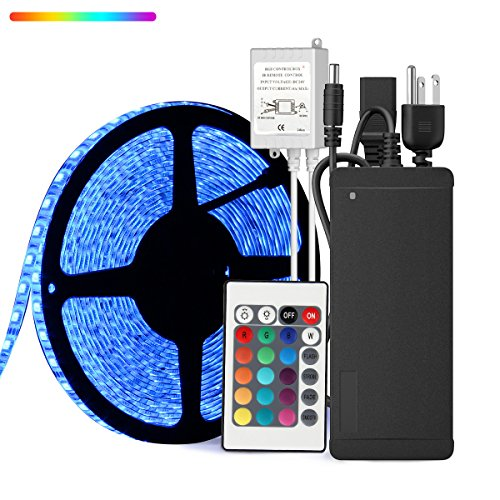 - SUPERNIGHT 32.8ft 10M Waterproof Flexible Strip 600leds Color Changing RGB SMD5050 LED Light Strip Kit RGB 5M +24Key Remote+24V 5A Power Supply