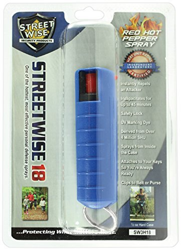 Streetwise Security Products Lab Certified Streetwise 18 Pepper Spray, 1/2-Ounce Hard Case, Blue -
