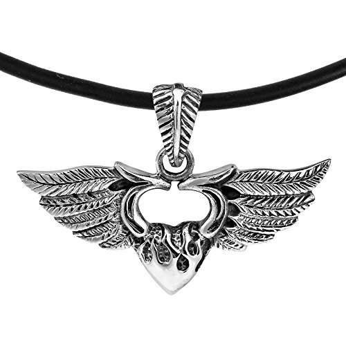 (AeraVida Beautiful Winged Flaming Heart .925 Sterling Silver Rubber Necklace)