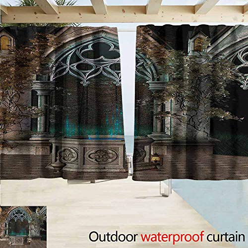 (AndyTours Simple Curtain,Gothic Mystical Patio with Enchanted Wishing Well Ivy on Antique Gateway to Magical Forest,Room Darkening, Noise Reducing,W63x63L Inches,Grey Teal)