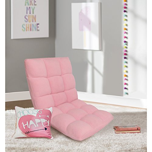 Chic Home Loungie Kids Armless Quilted 5-Position Adjustable Recliner Chair for Living Room, Baby Pink