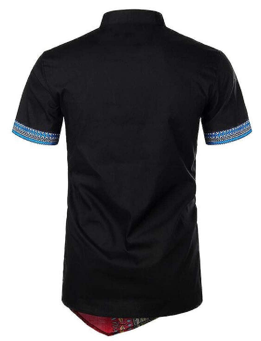 Mens African Tribal Dashiki Short Sleeve Shirt Floral Print Button Up Shirts