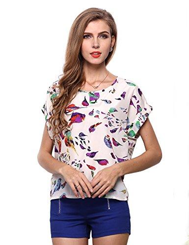 Femme Chemise manche imprim Oiseau courte rond de col Letuwj Blanc 7dnaW4pT7