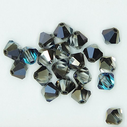 - Bermuda Blue 4mm Swarovski Crystal Beads. Bicone. Made in Austria. Pack of 20