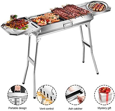 Goozegg 44-Inch Portable Charcoal Grill Heavy-Duty Stainless Steel BBQ Folding Camping Grill for Outdoor Cooking, Backyard, Patio, Picnic, Park