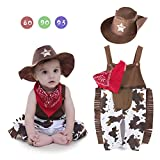 Toddler Baby Boy Sheriff Cowboy Overalls, Hat and Handkerchief Jumpsuit Photography Prop Costume 3pc Set (95cm)