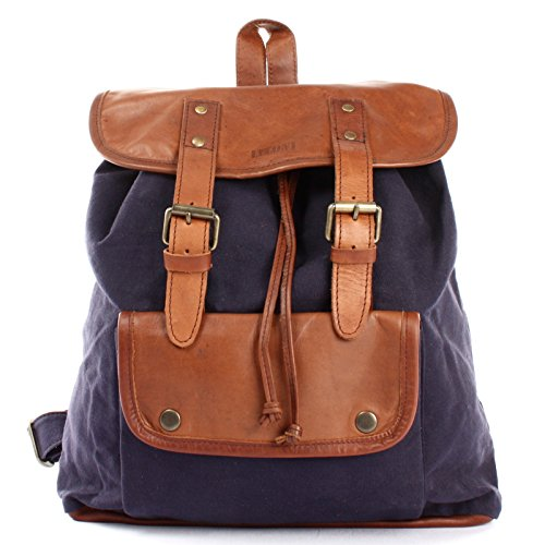 Leconi - Backpack Canvas Bag Women Blue - Navy / Brown