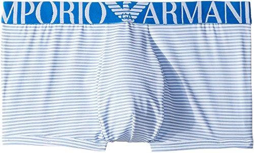 Emporio Armani Men's Microfiber Trunk, White/Sky Blue, Medium by Emporio Armani